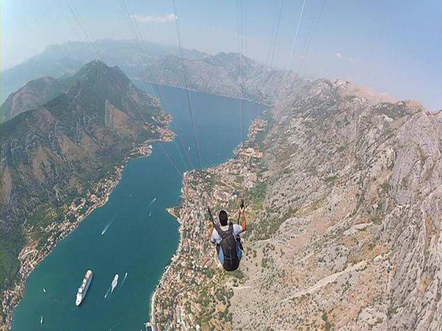 Fly above old town Kotor and Boka Bay