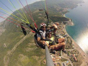 paragliding montenegro tandem flight above budva with the wonderful panorama view on buva riviera st.stefan island and old town budva