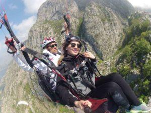 paragliding tandem flight over the Bay of Kotor