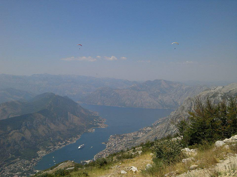 Amazing view from paragliding take off Lovcen above Kotor