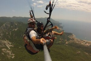 Paragliding montenegro fly above Budva. provides the spectacular view on landscape of Budva Riviera and deep blue Adriatic sea that will take your breath away.